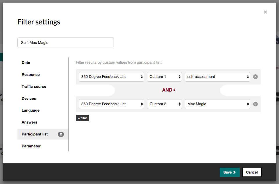 360 degree feedback filter settings